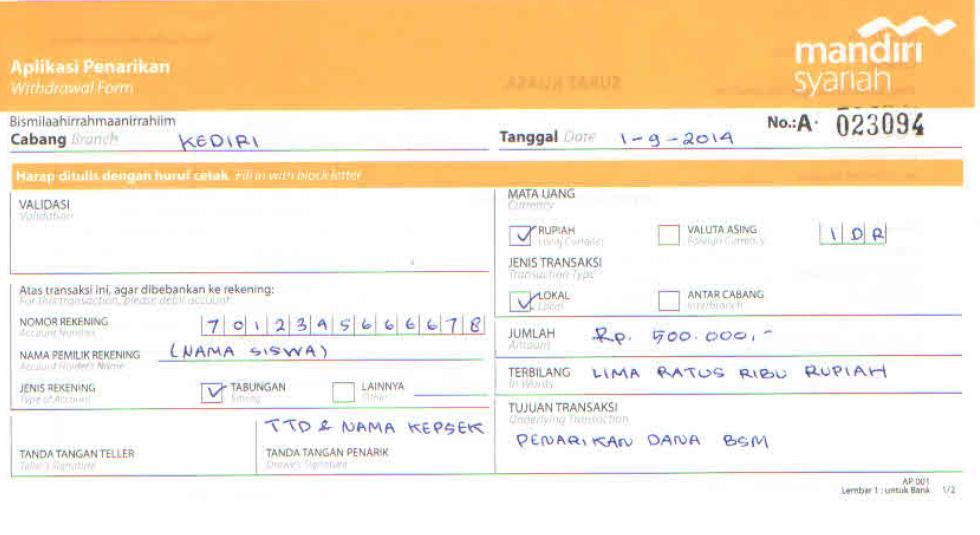 Contoh Slip Dan Surat Kuasa Bsm Apbn Media Informasi Mi Kecamatan Badas Kediri