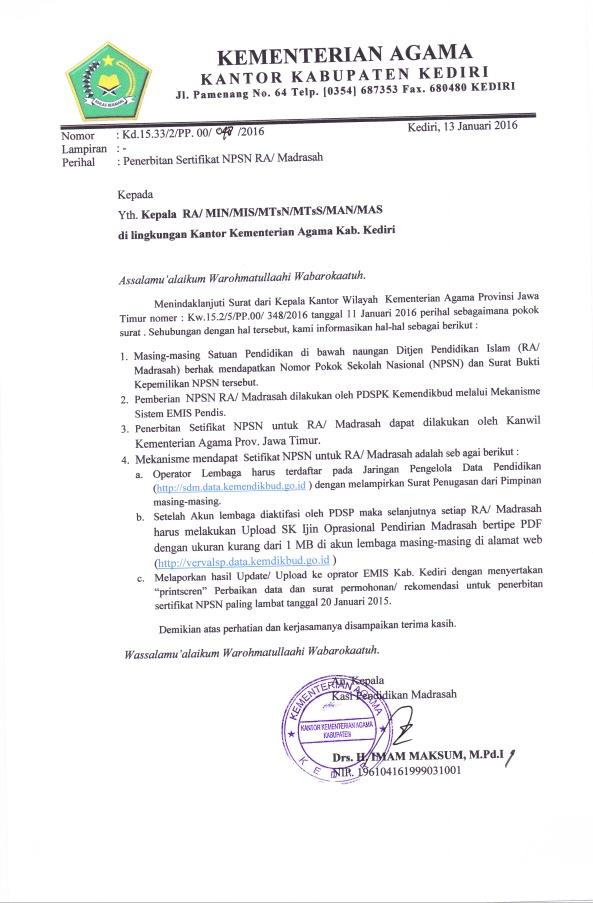 Permohonan Sertifikat Npsn Media Informasi Mi Kecamatan