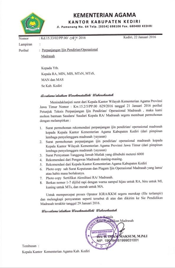 Perpanjangan Izin Pendirian Madrasah | ♠ Media Informasi ...